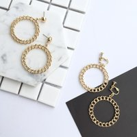 Wholesale New women wearing retro fashion style of two different sizes of alloy material circle non pierced ear clip
