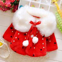 Wholesale New arrvial kids clothing baby clothing girls coat girls warm pink red short bow coat Imitation fur plush velvet coat