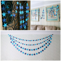 baby shower room decoration - 13ft m Star Paper Garland Banner Bunting Drop Baby Shower Wedding Party Christmas Decor Paper Crafts Home Room Hanging Decorating Colorful