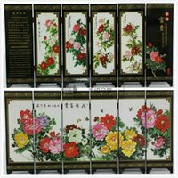 Wholesale Art Classical Chinese Lacquer Handwork Painting Blooming flowers Auspicious Screen Decor