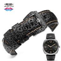 al por mayor relojes de la correa de cuero de la vendimia-Vintage patrón de becerro de cuero genuino 24 / 26mm reloj banda de acero inoxidable Retro Buckle para Panerai Breitling Man Series + herramientas