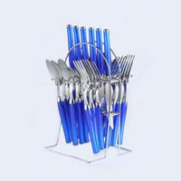 Wholesale KTL set Blue Soft Handle Dinnerware Flatware Set Stainless Steel Dinner Knife Fork Spoon Teaspoon Cutlery Set
