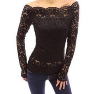 Wholesale Women s fashion lace polyester slash collar shirts four colors size hot one neck tops shirt of lady