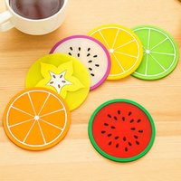 bamboo silica - NEW Jelly Color Fruit Shape Coasters Creative Skid Insulation Silica Gel Cup Mat BI27