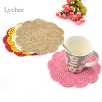 Wholesale Crochet Cup Placemat - Wholesale-2 Pieces Lot Cotton Handmade Crochet Doilies Cup Mat Pad Coaster Hook Flower Doily Table Mats Tableware Placemat Coasters