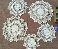 Wholesale CM HOT cotton crocheted table mat pad Beige cup dishes coaster placemat tablecloth for wedding christmas decoration
