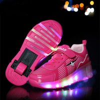 Unisex automatic flashing - Kids shoes Children Roller Sneakers With Wheel Boys Girls Automatic LED Lighted Flashing Roller Skates Zapatillas Con Ruedas K3S