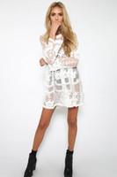 Wholesale Sexy Beach Miniskirts - Women Long Sleeve O Neck Dress Sexy Lace Totem Perspective Skirt Beach Cover Ups Nightclub High Waist Eugen Yarn See Through Miniskirt