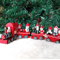 Indoor Christmas Decoration best friend ornaments - Fashion Pc Christmas Little Train Decoration Wooden Train Decor Christmas Ornaments Best Birthday Gifts for Kids Friends