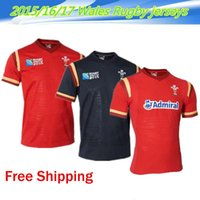 Wholesale Top Quality RWC Wales Home Red And Away Black Rugby Jerseys New Season Wales Home Red Rugby Jerseys