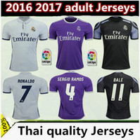 Wholesale thai quality real madrid jerseys home third Parley RONALDO BENZEMA JAMES BALE RAMOS football shirts size S XL