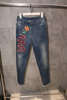 Wholesale 2017 spring brand women s fashion luxury embroidered snake jeans
