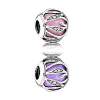Wholesale Authentic Sterling Silver Bead Charm Pink Purple Pink Nature s Radiance Beads Fit Pandora Bracelet Diy Jewelry HKC3696