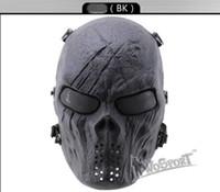 H0877360 CS Cráneo Esqueleto Full Face Tactical Paintball Proteger Seguridad Terror Máscara Halloween Cosplay Vestido Máscara Jagged horror accesorios