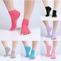 anti slip grip socks - pair Cotton Half Toe Socks Non Slip Peep Toe Anti Slip Pilates Ankle Grip Durable Open Half Five Fingers Socks