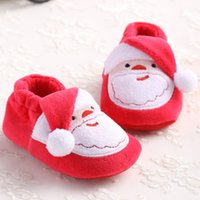baby santa - Infant Newborn Toddler Shoes Cute Cartoon Santa Claus Soft Sole Baby Girl Boy First Walkers Prewalker For Christmas Party WA1677