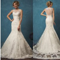Wholesale 2017 New Arrival Amelia Sposa Mermaid Wedding Dresses Vestidos De Noiva Sheer Neck Lace Button Back Sweep Train Bridal Gowns Custom Made