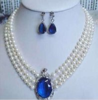 aa sapphire - 3 rows white pearl sapphire pendant necklace earrings quot quot AA