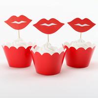 achat en gros de ornement de jour de noël-Grossiste-Lip et Moustache Cupcake Wrapper Toppers pour la Saint Valentin Party Decoration Cake Décoration Ornement de Noël 24pcs / Pack