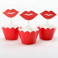 al por mayor día adorno de navidad-Venta al por mayor-labio y bigote cupcake envoltura toppers para el día de San Valentín fiesta decoración pastel decorando adorno de Navidad 24pcs / pack