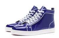 2017 Conçu Splice Blue Patent Leather avec des chaussures en ligne White High Top Chaussures Red Bottom Sneakers Chaussures Unisex Shoes Wedding