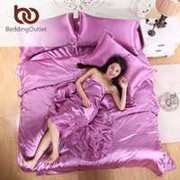 Wholesale Home Textiles Silk Satin Sheets Coverlet and Plaids Bed Linen Set Cameo Brown Polyester Silk Bedding Sets King Size Bed Set