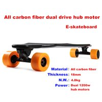 Wholesale All carbon fiber dual drive wheel motor electric skateboard top speed km h thickness mm