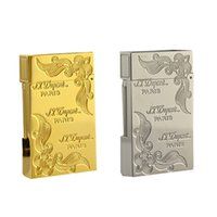 Wholesale S T Memorial Dupont lighter with Bright Sound smoking cigarette gas lighter box package dupont lighter gold and sliver color