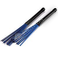 Wholesale 1 Pair Retractable Jazz Drum Nylon Blue Brushes Sticks New Accessories