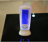 Wholesale Creative Fashion LED Luminous Music Timing Blue Light Temperature Display Alarm Clock Permanent Calendar Electronic Clocks zb