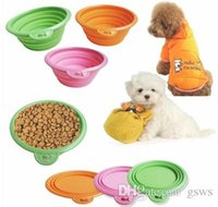 Bowls, Cups & Pails Plastic Travel Folding dog bowl Solid color Pet Cat dog Bowl folding collapsible silicone puppy doggy feeder water food container foldable style on sale
