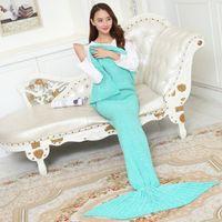 Wholesale Hotest Adult Mermaid Tail Blankets Mermaid Tail Sleeping Bags Cocoon Mattress Knit Sofa Blankets Handmade Living Room Sleeping Bag