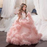 Wholesale Vestido De Daminha Blush Pink Communion Dresses For Girls Ball Gown Cloud Beaded Luxury Kids Pageant Dress Prom Dress