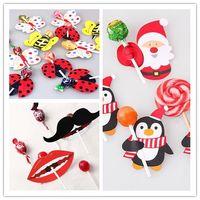 bee birthday cards - Bee Butterfly Ladybug Santa Penguin Mustache Big Lips Printed Lollipop Decorative Card Christmas Birthday Candy Stick Card