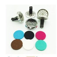 Wholesale 38mm Stainless Steel Trees Round Aromatherapy Essential Oil Diffuser Perfume Locket Clip for Car Without Chain