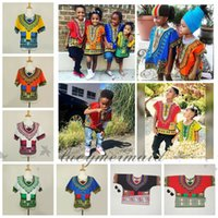 Wholesale African Dashiki Dresses Children Kids African Clothes Hippie T Shirt Caftan Vintage Tribal Mexican Top Riche Ethnic Clothing L308 M