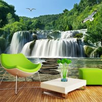 Wholesale Custom D Mural Wall Papers Roll Chinese Style Waterfall D Room Photo Wallpaper Landscape Moisture Proof Background Wall Fresco
