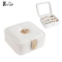 Wholesale Japanese style Pattern leather Jewelry Box mini Travel organizer with mirror Ring Earrings Necklace storage box makeup Casket