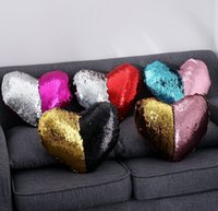 Wholesale Heart shaped Mermaid Pillow Sequin Sofa Cushion Glitter Double Color Sequins Pillow Home Sofa Decoration including Pillow core KKA1260