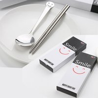Wholesale Creative Two Piece Portable Tableware Sets Smiling Face Stainless Steel Chopsticks Spoons Kitchen Tools With Retail Box
