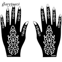 artistic paintings - Hot Pair Henna Tattoo Stencil Gorgeous Flower Picture Design Hands Mehndi Artistic Airbrush Painting Tattoo Template Gift S126