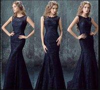 Wholesale 2017 Evening Dresses Boat Neck Mermaid Long Dress Special Occasion Prom Dresses Lace Appliques Vestidos De Noiva