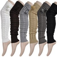 Wholesale 24pairs Women s Long Leg Warmers New Hot Sales Winter Autumn Keep Warm Boots Socks Knitted Leg Warmers Leggings with knee pads cm