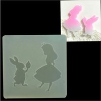 Wholesale DIY Handmade Alice Girl and rabbit transparent Clear Epoxy Pendant mold Phone Decoration tools cake Fondant decoratings tools