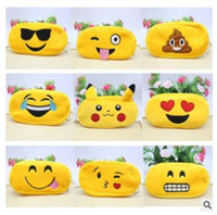 Wholesale Pencil Bags Emoji Poke Plush Zipper Cosmetic Bag Styles Pouch Writing Supplies Office School Stationery bag