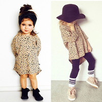 vêtements filles en gros vêtements pour enfants achat en gros de-2017 Fashion Top Leopard Robe polyvalente Vêtements pour bébés Enfant Long Stlyle Clothing Girl Cotton Toddler Top 0-5T Wholesale Factory T-shirt