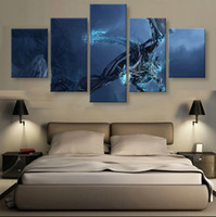 Wholesale 5 Panels Unframed Wall Art Painting Ice Dragon Hanging in Home Decoration