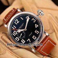 NOUVEAU arrivé Marque de luxe Pilot Mens Automatic Watch 03.2430.693 / 21.C723 Black Dial Type 20 GMT sport sport Montres Bracelet en cuir