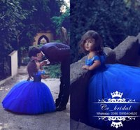 Wholesale Stunning Butterfly Princess Girls Cinderella Dresses Ball Gown Royal Blue Girl s Pageant Gowns Lovely Cap Sleeves Wedding Party Dress