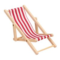 Wholesale Red High Quality DIY Dolls House Miniature Foldable Wooden Deckchair Lounge Beach Chair Hot Sale
